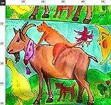 Katze, Kuh, Ente, Hund, Ziege, Bauernhof Stoffe -