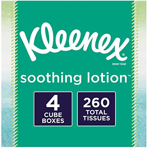 Kleenex Soothing Lotion Facial Tissues 4 Cube Boxes 65 Tissues Per Box 260 Tissues Total with Coconut Oil Aloe amp Vitamin E
