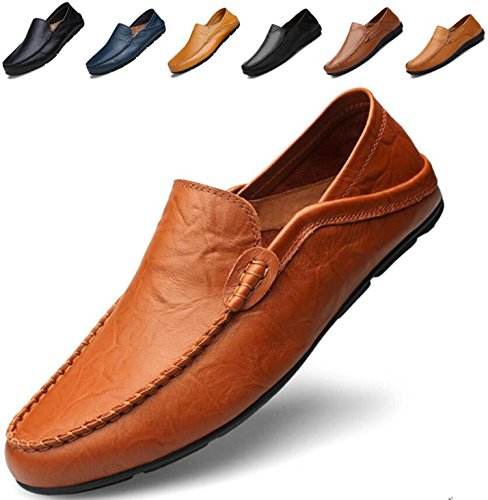 Go Tour Men's Premium Genuine Leather Casual Slip On Loafers Breathable Driving Shoes Fashion Slipper Brown 46