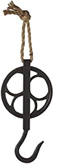 MMS Gifts Large Decorative Cast Iron Pulley with Jute Rope and Hook in Vintage White or Distressed Black (Black)
