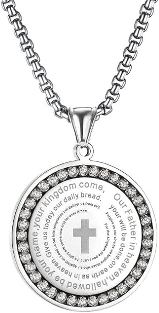Stainless Steel Chrisitan Cross Serenity Prayer Round Shaped Pendant Necklace