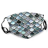 Reusable Anti-Dust Face Nose Mouth Cover Mask with Adjustable Earloops Two Sides Printed Teal, Silver and Green Sparkle Faux Glitter Mermaid Scales