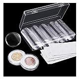 Osuter 100PCS Capsules Pièces de Monnaie Plastique Collection Monnaie avec Boîte de Rangement pour Collection de Pièces