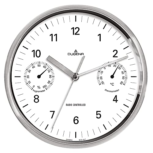 DUGENA Wanduhr, Funkuhrwerk, Thermometer, Hygrometer, Metallgehäuse, ø 25 cm, inklusive Batterie (ø 25 cm)