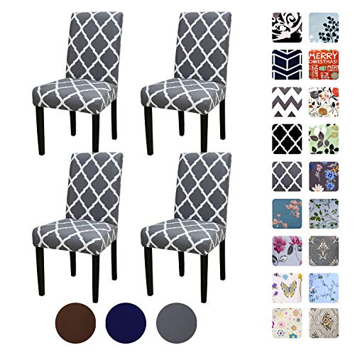 YEESSION Set of 4 Stretch Removable Washable Short Dining Chair Covers, Dining Room Chair Protector Seat Slipcover for Hotel,Banquet,Wedding,Party (Style 18)