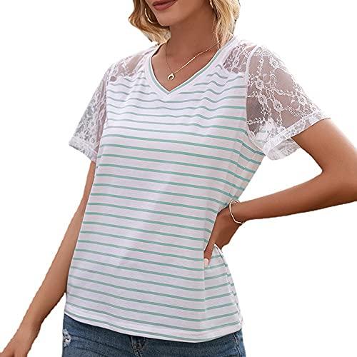 Jersey Informal De Primavera Y Verano para Mujer, Camiseta De Manga Corta De Encaje con Costura con Cuello En V Suelta, Camiseta De Manga Corta para Mujer