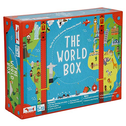 CocoMoco Kids World Box Activity Kit Geography Game - Includes World Map for Kids, Passport, Scrapbook, Country Trump Card Game, Educational Learning STEM Toy for Age 5-12 Year Boys and Girls
