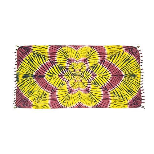 ManuMar Damen Sarong | Pareo Strandtuch | Leichtes Wickeltuch mit Fransen-Quasten (L: 115 x 225 cm, Gelb Lila Mandala 2)
