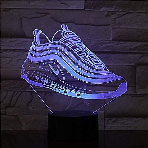 Nachtlicht 3D Schlaflampe 7Colors Sneaker Schuhe 3D Lampe Nachtlicht USB/Batteriebetriebene LED Nachtlichtlampe Visuelle Lichteffekt Geschenk für Teenager