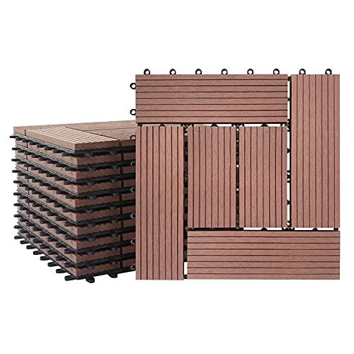 Froadp Baldosas de plástico WPC, 22 unidades, filtro de agua, para terrazas y balcones, plegables, aspecto de madera, para jardín, aprox. 2 m² (30 x 30 cm/pieza, marrón), tipo B