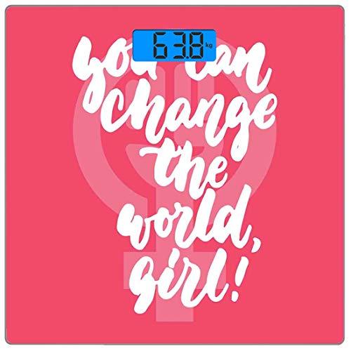 Escala digital de peso corporal de precisión Square Citar Báscula de baño de vidrio templado ultra delgado Mediciones de peso precisas,Puedes cambiar el texto feminista de World Girl Female Empowermen