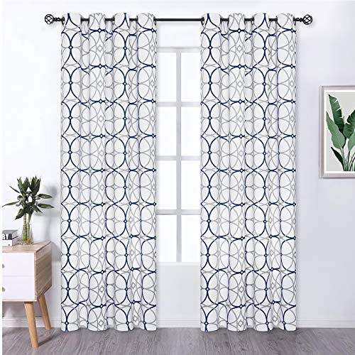Blue and White Blackout Curtains, Grey and Navy Geometric TrellisCurtain Panel, Room Darkening Thermal Insulated Window Drapes Treatment with Grommets for Bedroom Living Room, Set of 2, 52 x 84 Inch