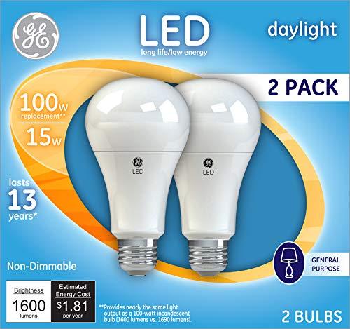 GE Lighting 21868 Light Bulb Daylight A21 LED 15-Watt (100-Watt Replacement), 1600-Lumen Medium Base, 2-Pack, 2 Piece