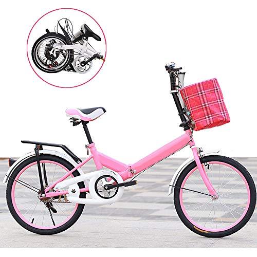 "ZRZJBX Bikes Erwachsene FalträDer Klapprad Faltrad 16""Fahrrad Faltrad Campingrad Citybike,Pink"