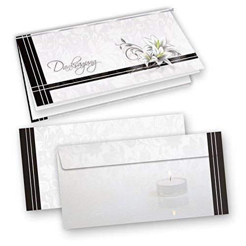 Danksagung Trauer (50 Sets) selbst bedruckbar/beschreibbar mit feinem Einlegeblatt, inkl. Briefumschläge