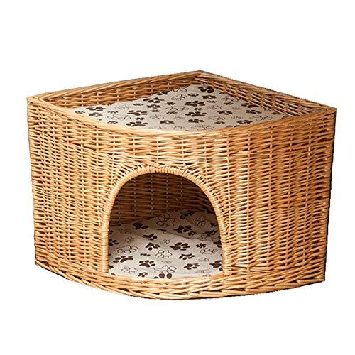 Rieten Hondenmand, Waaiervormig Kattennest Vier Seizoenen Universele Handgemaakte Rotan Kleine Hondenhok Met Katoenen Matras En Bamboematten