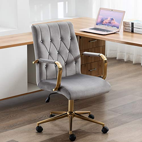 Duhome Desk Chair Grey Office Chair Home Office Desk Chairs with Wheels Computer Chair for Office Desks Swivel Adjustable Velvet Chair with Armrest