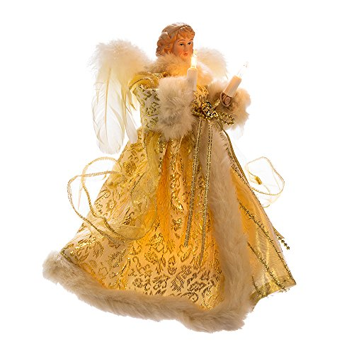 Kurt Adler UL 10-Light Angel Treetop Figurine, 10-Inch, Ivory and Gold