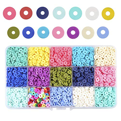 Potosala 6mm Flat Round Polymer Clay Beads Loose Spacer Beads Handmade Beads For DIY Jewelry Making Bracelet Finding 13 Color about 2600pcs