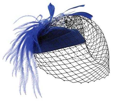 MBZY Tocado de Pelo Plumas Mujer Sombrero con Malla Vintage Boda Noche Fiesta Azul