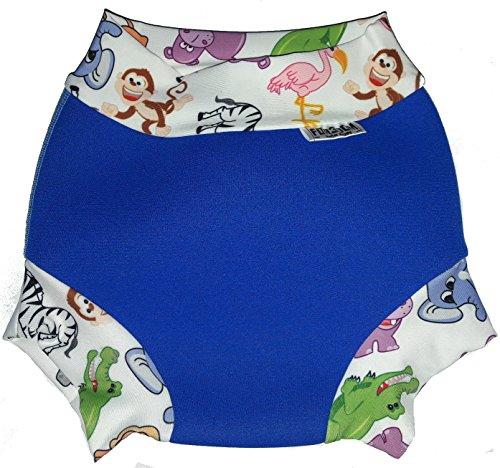 Baby Schwimmwindel Swim Nappy Neopren (Royal Blue-Safari, L - 10-14 kg)