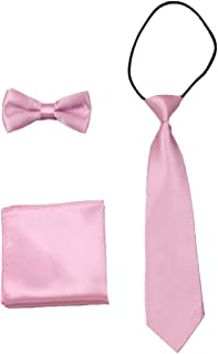 Boys Bow Tie Pocket Square 3 Piece Set for Kids Collection Boy Necktie Powder Pink