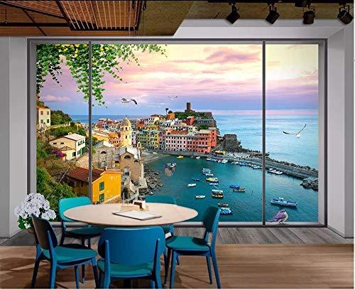 ZJfong wallpaper 3d Windows aan zee gebouw boten landschap sofa slaapkamer woonkamer TV achtergrond muurschilderijen 420 x 260 cm.