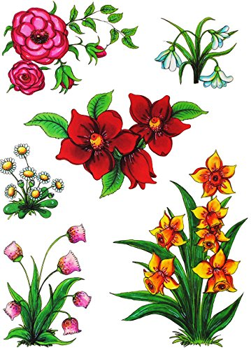 alles-meine.de GmbH 6 TLG. Set _ Fensterbilder -  Pflanzen & Blumen  - statisch haftend - selbstklebend + wiederverwendbar / Ostern & Frühling / Sommer - Sticker Fenstersticker..