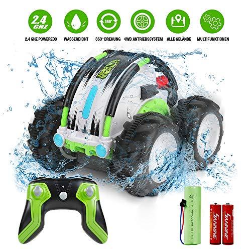 Innoo Tech Ferngesteuertes Auto, Wasserdicht RC Stunt Auto, Land und Wasser 2 in 1 wiederaufladbares Amphibien Fahrzeug, 4WD 2.4Ghz Fernsteuerung, 1/24 Skala Spielzeug 360° Drehung (Grün)