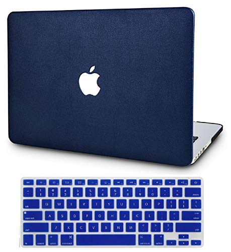 KEC MacBook Air 13 Inch Leather Case with Keyboard Cover Folio Italian Pebble Leather A1466 / A1369 (White Marble Leather)