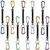 Wilxaw 10 Pcs Llavero Elastico, Cuerda de Pesca con Mosquetón de Colores, Llavero Espiral para Colegio Pescar Excursionismo (12cm)