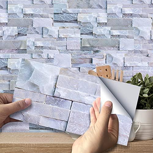 Sticktiles piastrelle da parete in buccia e bastone per cucina, piastrelle da parete autoadesive, piastrelle da cucina adesive per la decorazione della cucina / bagno (grigio scuro)