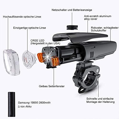 Antimi LED Fahrradlicht Set【Neueste Modell】, StVZO Zugelassen USB Wiederaufladbar Fahrradlichter Fahrradlampe Set, IPX5 Wasserdicht Frontlicht & Rücklicht Lampenset mit Samsung 2600mAh Li-ion Akku - 2