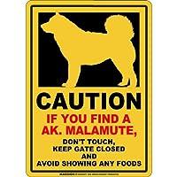 CAUTION IF YOU FIND マグネットサイン:アラスカンマラミュート(スモール)イエロー 注意 DON'T TOUCH 触れない/触らない KEEP GATE CLOSED ドアを閉める 英語 防犯 アメリカンマグネットステッカー