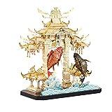 Piececool 立体パズル プラモデル 鯉の滝登り立体メタルモデルキット クラフト 3Dパズル メタリックナノパズル 機械模型 金属製 子供 おもちゃ 知育玩具 男の子 女の子 大人 ギフト 誕生日 クリスマス プレゼント 贈り物