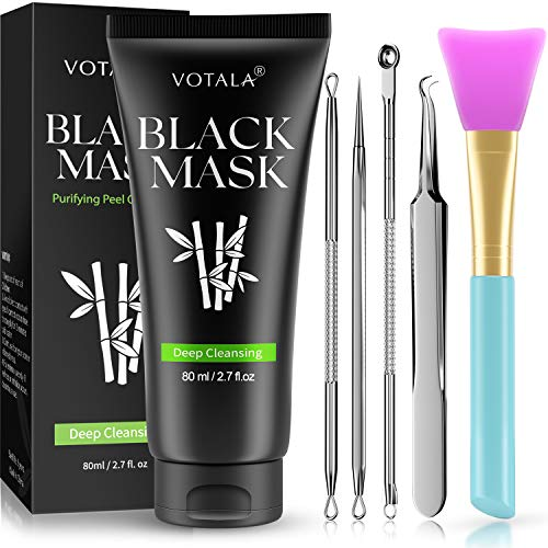 Blackhead Remover Mask 3-in-1 Votala Blackhead Removal Mask, Purifying Peel Off Mask with Acne & Blackhead Extractor Kit and Silicone Brush, Deep Cleansing Blackheads Removal Kit