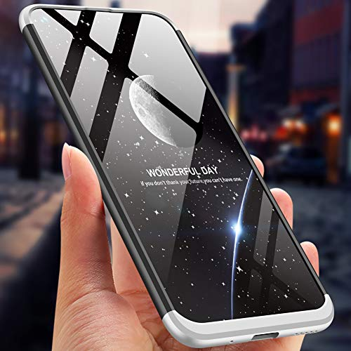 PAIPAIGUAN Huawei Nova 4 Hülle Huawei Nova 4 Handyhülle 3 in 1 Ultra Dünner PC Harte Schutzhülle 360 Grad Hülle + Panzerglas für Huawei Nova 4 Komplett Hülle Fullbody Case Cover - Silber Schwarz - 2