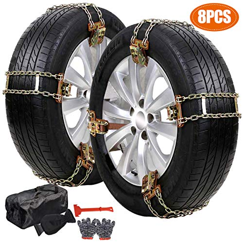 DoCred Tire Snow Chains, 8 Pack Tire Chains for Cars/SUVs/Trucks/Pickups of Tire Width 215mm-285mm (8.46-11.22 inch), Heavy Duty, Thickened, Adjustable Snow Chains with Ice Scrapper, Gloves