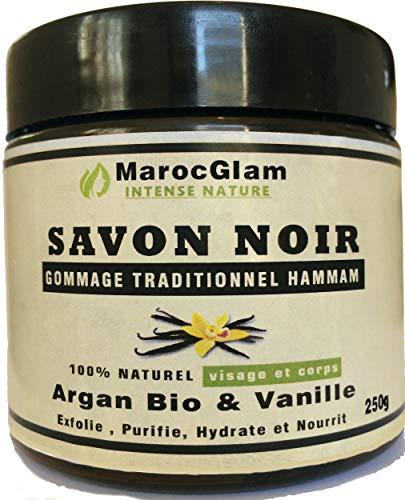 Savon noir Gommage 250g, Huile d'argan Bio et Vanille, Gommage au Savon noir hammam NATUREL MAROC GLAM