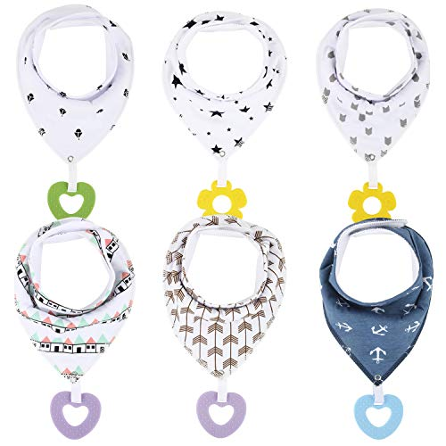 Discoball Baby Dribble Bib with Silicone Teether - 6 Pcs Baby Bandana Drool Bib Teething Bibs for Kids Infant Newborn, Super Absorbent Cotton with BPA Free Silicone Teething Chew Attached
