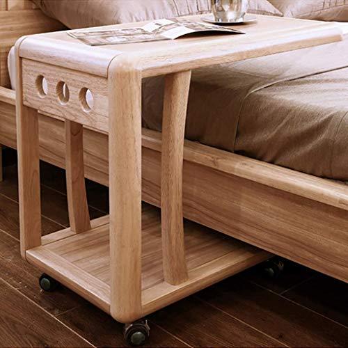 N/Z Wohngeräte Überbett Snack Rolling C Tisch mit Lagerregalen Rubberwood Mobile Nachttisch mit Rollen Wohnzimmermöbel Home Office Sofa Couch Beistelltisch Beistelltisch Rolling Laptop Notebook Stan