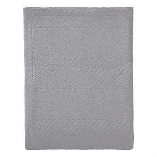 URBANARA Tagesdecke/Bettüberwurf Cieza - 100prozent Baumwolle, Decke in Strukturiertem Fischgrat (180 x 230 cm, Grau)