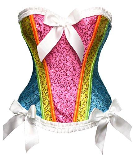 Bslingerie® Brokat Corsage Korsett Blumenordnung Bustiers Multi Color (L, Regenbogen)