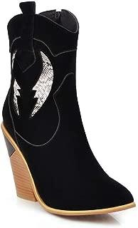 BalaMasa Womens ABS14142 Closed-Toe High-Top Closed-Toe Black Pu Boots - 4.5 UK (Lable:38)