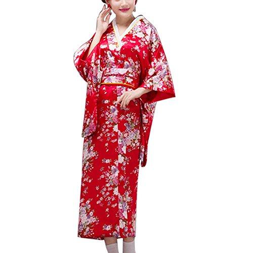 Fancy Pumpkin [Sakura] Albornoz Kimono Yukata de Estilo japonés para Cosplay, Rojo