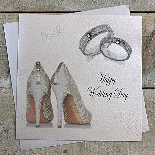 White Cotton Cards anillos de boda y zapatos de novia