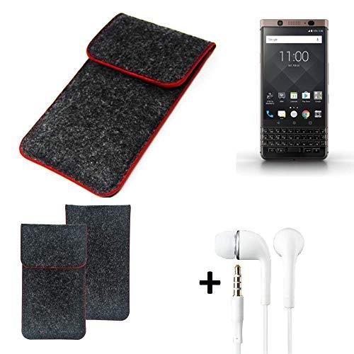 K-S-Trade Handy Schutz Hülle Für BlackBerry KEYone Bronze Edition Schutzhülle Handyhülle Filztasche Pouch Tasche Hülle Sleeve Filzhülle Dunkelgrau Roter Rand + Kopfhörer