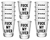 Fuck My Liver, Set of 12 Glass 1.75oz Clear Shot glasses with Black Print, Funny Shot Glasses Perfect Cool Shot Glasses for Parties, cute shot glasses and Fun Ocassions!