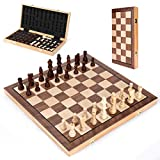 Wooden Chess Set 15 In, MagneticFolding Portable Compact Travel Chess Board Handcrafted Set, Beautifully Carved Pieces...