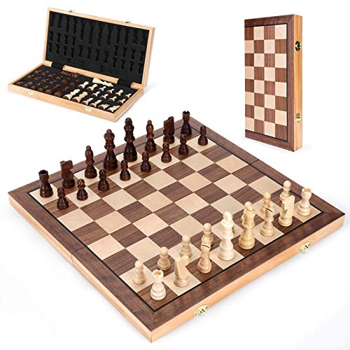 Wooden Chess Set 15 In, Magnetic Folding Portable Compact Travel Chess Board Handcrafted Set, Beautifully Carved Pieces + Foam Storage Slots + 2 Extra Queens + Gift Box, for Kids Adults Beginners' Set